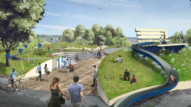 Viele Grünflächen, eine Rutsche, Bühnen und Pavillons schmücken den Erlebnisgarten der ZKB.