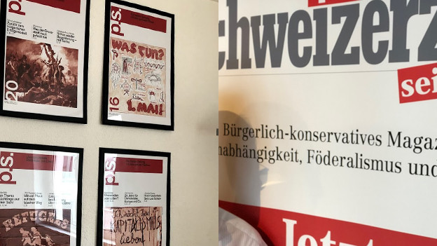 Ein Zusammenschnitt von zwei Bildern. Links Ausgaben des P.S., rechts ein Banner der Schweizerzeit.