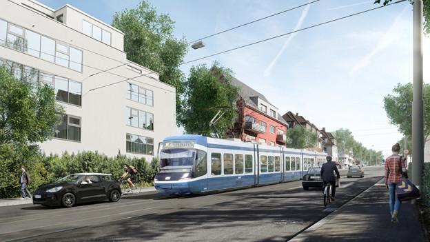 Die Pläne der Stadt Zürich sehen vor, dass über die Rosengartenstrasse in Zürich dereinst ein Tram fährt.