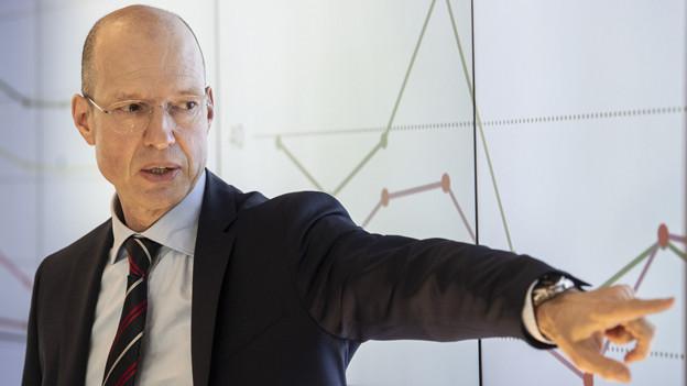Bucher-Ceo Jacques Sanche spricht an der Medienkonferenz zu den Zahlen 2018.