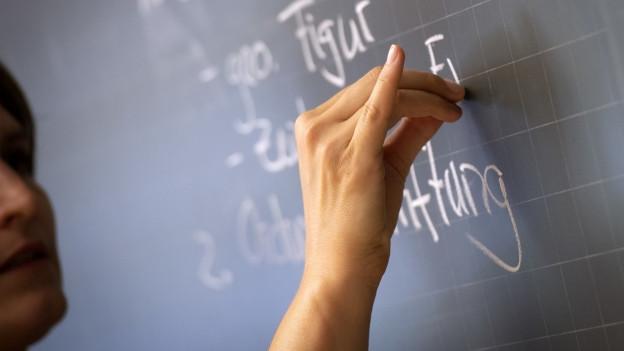 Eine Hand schreibt an eine Wandtafel