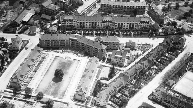 Luftaufnahme der Wohnsiedlung «Im Birkenhof» von 1928.
