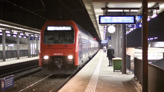 Eine S-Bahn fährt nachts in einen Bahnhof ein