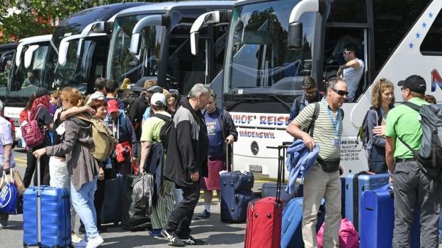 Passagiere mit Rollkoffern warten auf ihren Reisebus auf dem Zürcher Carparkplatz.