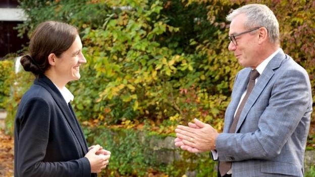 Der bisherige Ständerat Ruedi Noser (FDP) und seine Herausforderin Marionna Schlatter (Grüne).