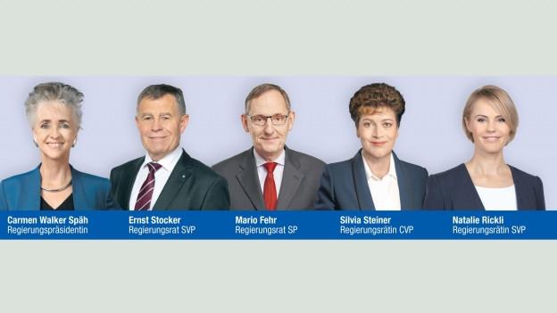 Die fünf Regierungsräte, die Ruedi Noser empfehlen.