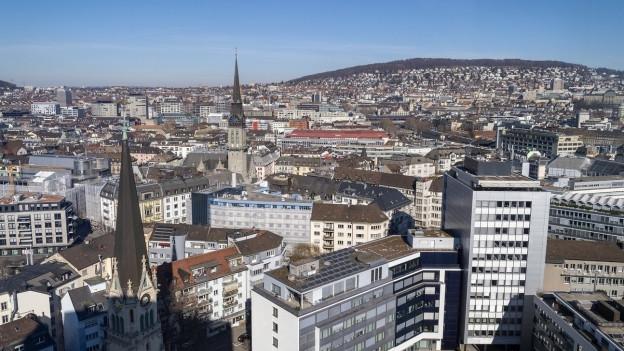 Die Zürcher Altstadt aus der Vogelperspektive.