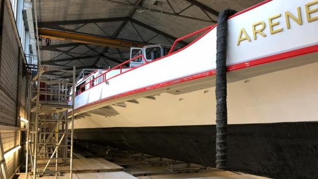Die MS Arenenberg in der Werft.