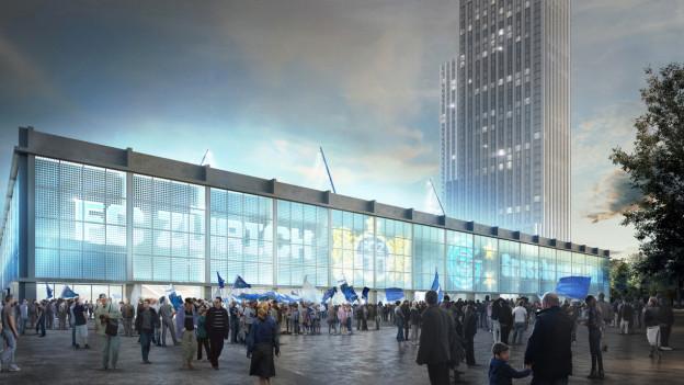 Visualisierung des Projekts «Ensemble» auf dem Hardturm mit den beiden umstrittenen Hochhäusern im Hintergrund.