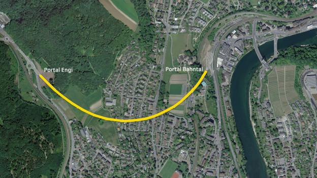 Skizze einer Tunnelführung auf einem Satellitenbild