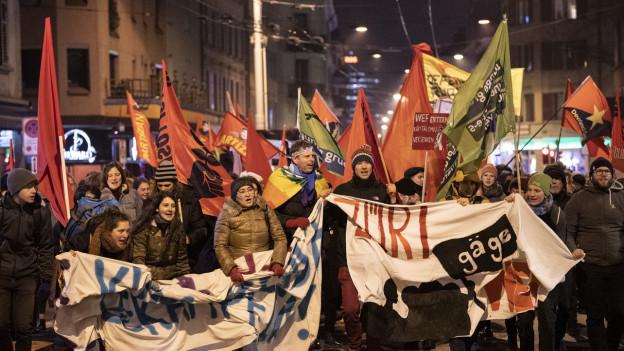 Demonstranten am Mittwochabend in Zürich.