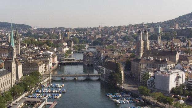 Stadt Zürich aus der Vogelperspektive
