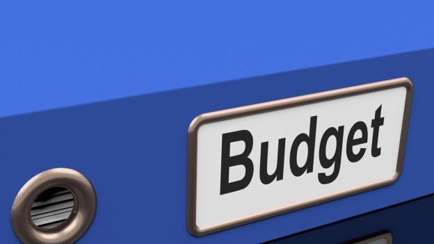Ein blauer Ordner mit der Aufschrift «Budget»