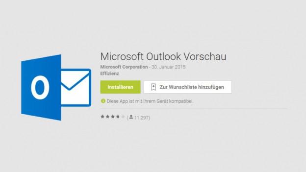 L'applicaziun per mails sin il telefonin Microsoft Outlook en il Google Play Store..