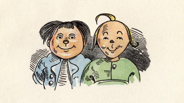 """Illustraziun or dal cudesch """"Max e Murezi""""."""