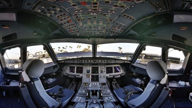 Cockpit d'in Airbus 320.