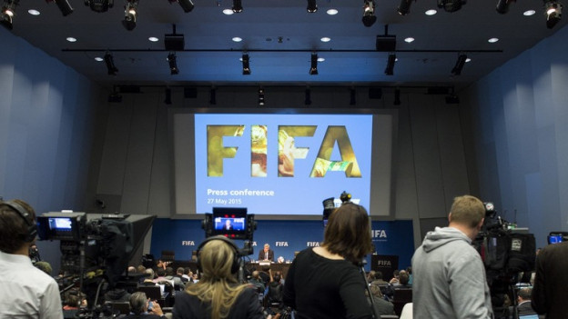 Cameras a la conferenza da medias da la Fifa.