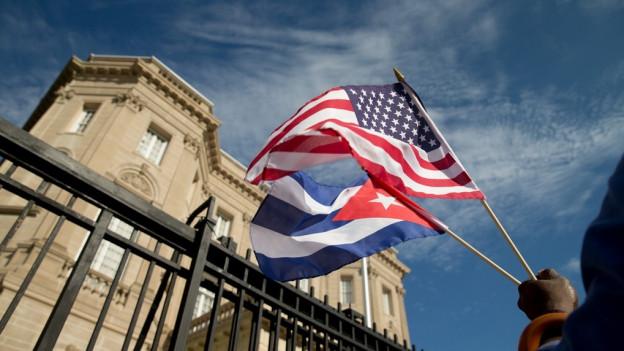 Bandiera dals Stadis Unids da l'America e Cuba.