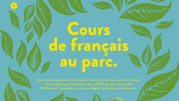 Cours de français au parc.