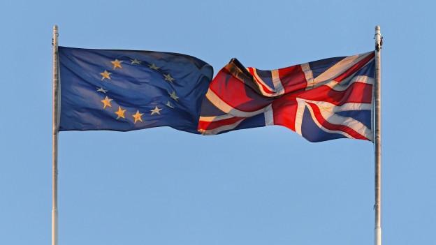 Bandiera da l'Uniun europeica e da la Gronda Britannia.