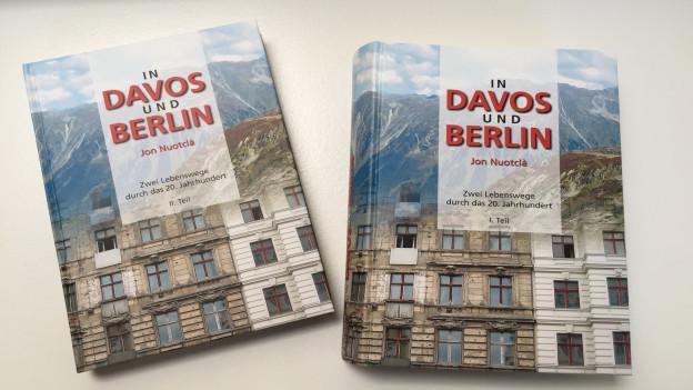 """Cover dal nov roman da Jon Nuotclà """"In Davos und Berlin""""."""