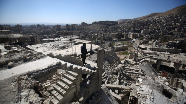 Chasas destruidas en la Siria.