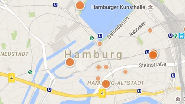 Charta da la APP cun la citad Hamburg