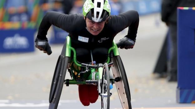 Sandra Graf durant in maraton l'onn passà.