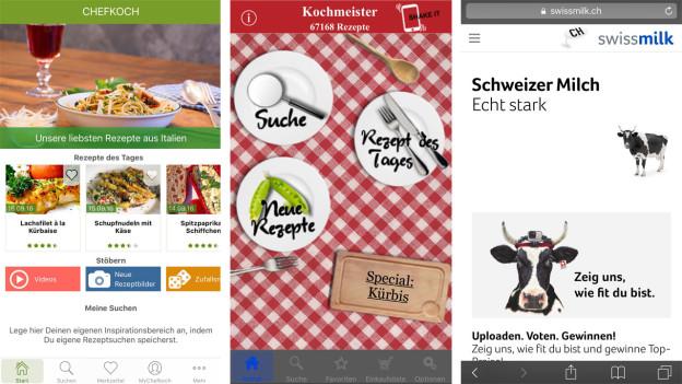 Apps da cuschinar en il test: Chefkoch, Kochmeister, Swissmilk