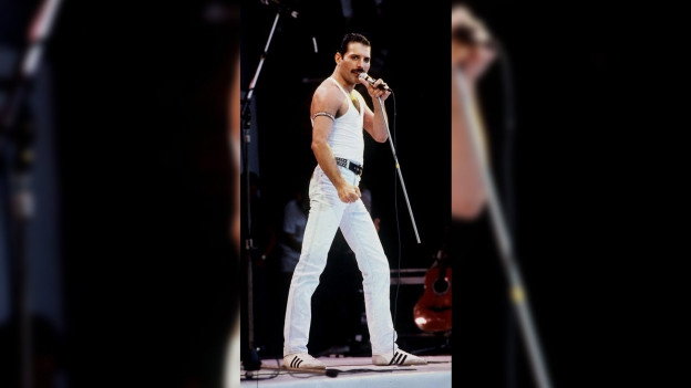 Il chantadur Freddie Mercury sin il pacs cun in vestgì alv.