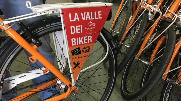 La marca sin ils velos dal servetsch «Rent a Bike Valtellina».