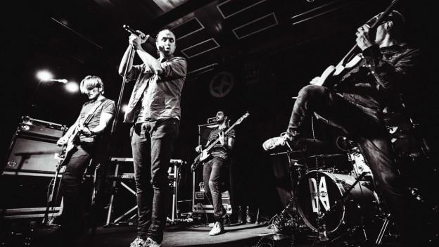 L'entira band en acziun durant in concert.