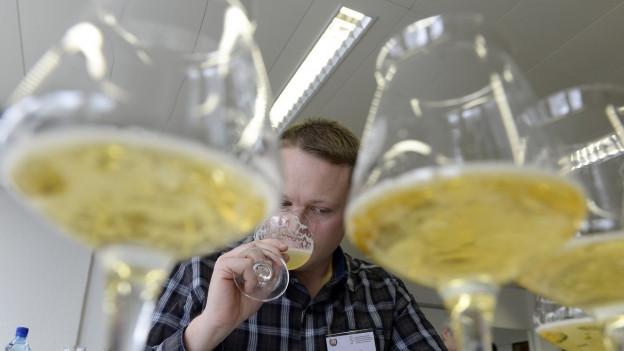 In expert da biera duran la degustaziun