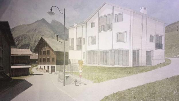 Illustraziun da la chasa da tgira «alte Sennerei», planisada a Tenna