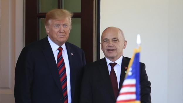 Il president dals Stadis Unids Donald Trump ensemen cun Ueli Maurer, il president da la Confederaziun.