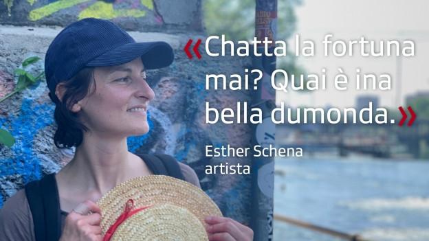 L'artista Esther Schena a la Limmat a Turitg.
