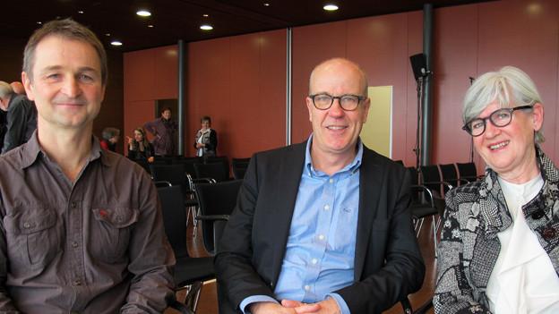 v.l.n.r. Andreas Hutter, Moderator Daniel Hitzig und Yvonne Schärli