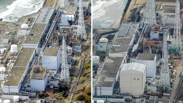 Das Atomkraftwerk in Fukushima vor (linkes Bild) und zwei Jahre später.