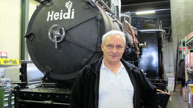 «Die Mechanik fasziniert mich»: Armin Brüngger vor seiner «Heidi».