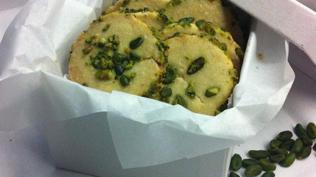 Shortbread mit grünen Pistazien.