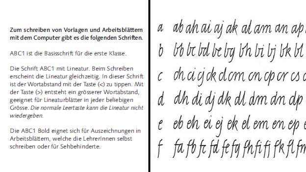 Die Basisschrift ABC 1 (links) und die Buchstabenverbindungen.