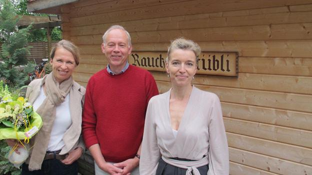Matina Hämmerli, Samuel Jakob und Gastgeberin Anita Richner.