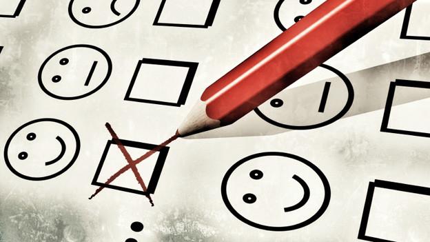 Häufig bei Hotelbewertungen zu finden: Zufriedene, neutrale oder unzufriedene Smileys.