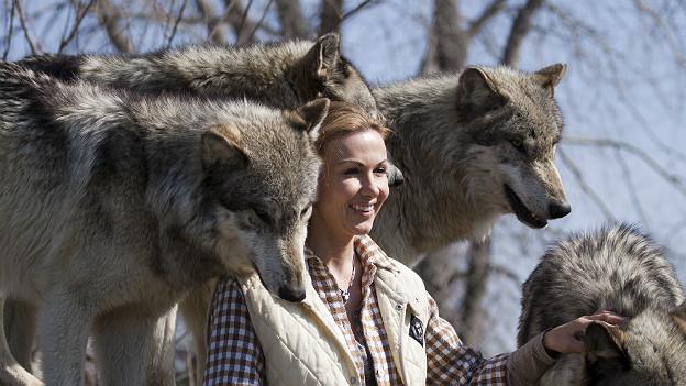 Susy Utzinger bei den Wölfen in Amerika.