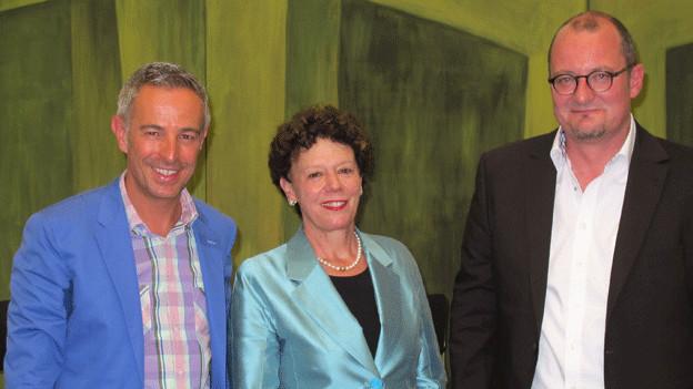 «Persönlich»-Gastgeber Dani Fohrler (links) mit der Solothurner Regierungsrätin Esther Gassler und dem Philosophen Reto Stampfli.