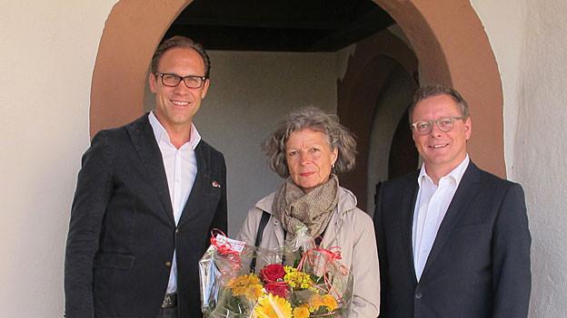 «Persönlich»-Gastgeber Christian Zeugin (links) mit Denise Stöckli und Urs Hofmeier.