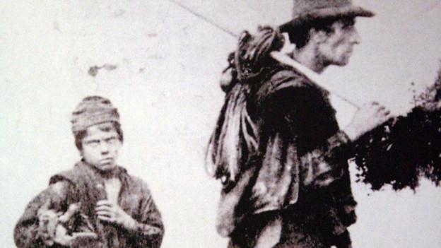 Spazzacamino mit seinem Kaminfegermeister, Ende 19. Jh.