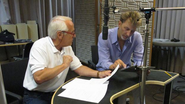 Walter Andreas Müller und Rufus Beck während den Aufnahmen.