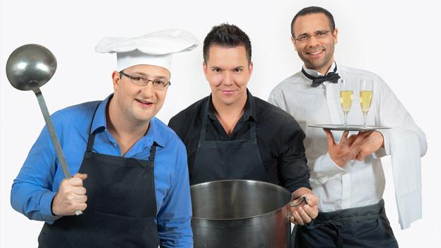 Sven Epiney, Michael Brunner und Mike La Marr bekochen sechs Hörerinnen und Hörer von Radio SRF 1.