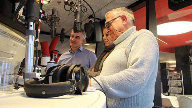 Die drei Finalisten im Studio von Radio SRF 1.